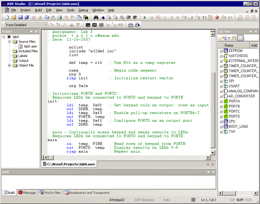 Creating a New Project in AVR Studio Javadoc